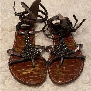 Sam Edelman silver flat sandals